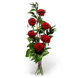 Adana uluslararası çiçek gönderme  mika yada cam vazoda 6 adet essiz gül