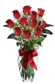 11 adet kirmizi gül vazo mika vazo içinde  Adana 14 şubat sevgililer günü çiçek