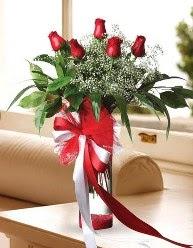 Camda 5 kırmızı gül tanzimi  Adana çiçekçi telefonları