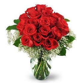 25 adet kırmızı gül cam vazoda  Adana çiçek , çiçekçi , çiçekçilik