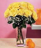 Adana internetten çiçek satışı  9 adet sari güllerden cam yada mika vazo