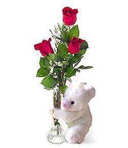 oyuncak ve 3 adet gül  Adana çiçek siparişi sitesi