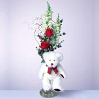2 adet gül ve panda özel  Adana çiçekçi mağazası