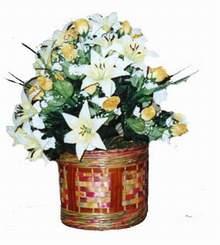 yapay karisik çiçek sepeti   Adana cicekciler , cicek siparisi