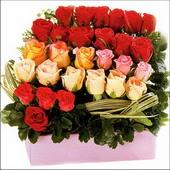 15 adet renkli gül ve cam   Adana çiçekçi mağazası