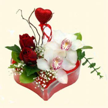Adana hediye sevgilime hediye çiçek  1 kandil orkide 5 adet kirmizi gül mika kalp