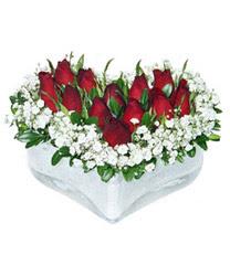 Adana internetten çiçek siparişi  mika kalp içerisinde 9 adet kirmizi gül
