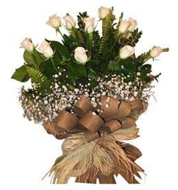 Adana çiçekçi telefonları  9 adet beyaz gül buketi