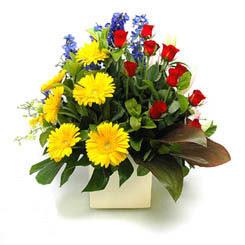 Adana online çiçek gönderme sipariş  9 adet gül ve kir çiçekleri cam yada mika vazoda
