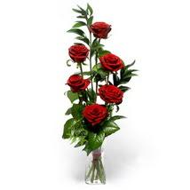 Adana çiçek siparişi sitesi  cam yada mika vazo içerisinde 6 adet kirmizi gül