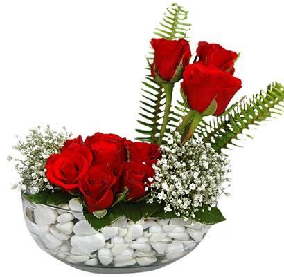 cam içerisinde 9 adet kirmizi gül  Adana çiçek siparişi vermek