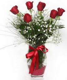 7 adet gülden cam içerisinde güller  Adana 14 şubat sevgililer günü çiçek