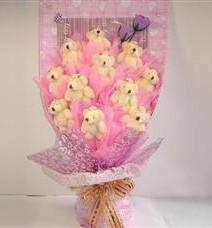 11 adet pelus ayicik buketi  Adana çiçek yolla