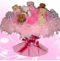 11 adet pelus ayicik buketi  Adana çiçek satışı