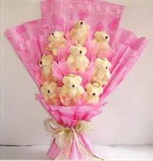 9 adet pelus ayicik buketi  Adana anneler günü çiçek yolla