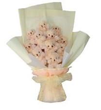 11 adet pelus ayicik buketi  Adana ucuz çiçek gönder