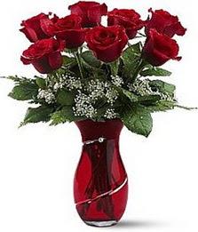 Vazo içinde 8 adet kirmizilar içinde güller  Adana internetten çiçek siparişi