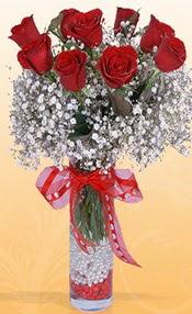 9 adet kirmizi gül cam yada mika vazoda  Adana çiçek mağazası , çiçekçi adresleri