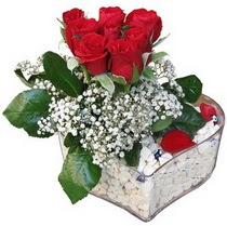 Adana güvenli kaliteli hızlı çiçek  kalp mika içerisinde 7 adet kirmizi gül