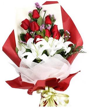 Adana çiçekçiler  1 dal kazablankaa 9 adet kırmızı gül buketi