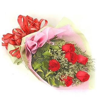 Adana çiçek , çiçekçi , çiçekçilik  6 adet kırmızı gülden buket