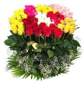 Adana çiçek mağazası , çiçekçi adresleri  51 adet renkli güllerden aranjman tanzimi