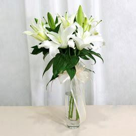 Adana anneler günü çiçek yolla  2 dal kazablanka ile yapılmış vazo çiçeği