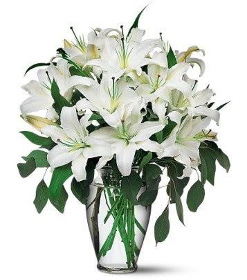 Adana internetten çiçek satışı  4 dal kazablanka ile görsel vazo tanzimi