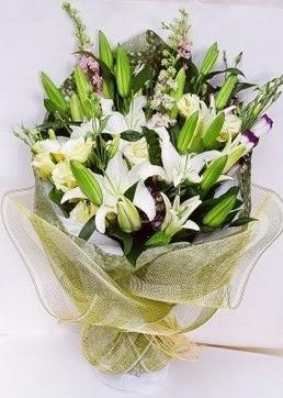 Adana çiçek servisi , çiçekçi adresleri  3 adet kazablankalardan görsel buket çiçeği