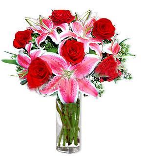 Adana çiçek yolla  1 dal cazablanca ve 6 kırmızı gül çiçeği
