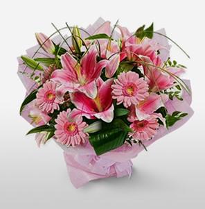 1 dal kazablanka ve kır çiçek görsel buketi  Adana internetten çiçek satışı