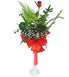 Adana anneler günü çiçek yolla  Cam vazoda masum tek gül
