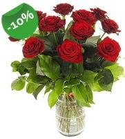 11 adet vazo içerisinde kırmızı gül  Adana online çiçek gönderme sipariş