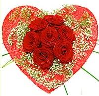 Mika kalp içerisinde 7 adet kırmızı gül  Adana çiçekçi mağazası
