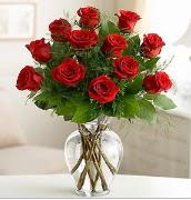Vazo içerisinde 12 kırmızı gül  Adana çiçek satışı