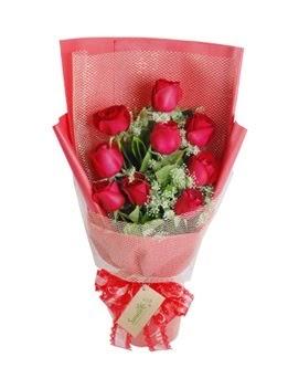 9 adet kırmızı gülden görsel buket  Adana ucuz çiçek gönder