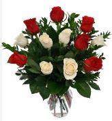 Vazo içerisinde 6 kırmızı 6 beyaz gül  Adana hediye çiçek yolla