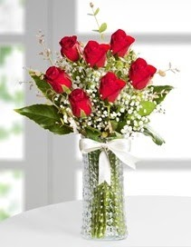Cam vazoda 7 adet kırmızı gül  Adana çiçek , çiçekçi , çiçekçilik