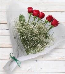 5 kırmızı gülden sade buket  Adana çiçek yolla