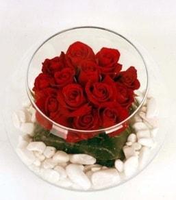 Cam fanusta 11 adet kırmızı gül  Adana çiçek gönderme