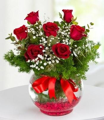 fanus Vazoda 7 Gül  Adana çiçek , çiçekçi , çiçekçilik