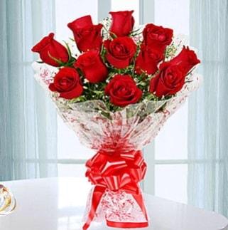 11 adet kırmızı gülden görsel şık buket  Adana ucuz çiçek gönder