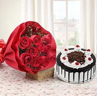 12 adet kırmızı gül 4 kişilik yaş pasta  Adana çiçek , çiçekçi , çiçekçilik