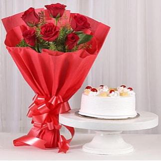 6 Kırmızı gül ve 4 kişilik yaş pasta  Adana çiçek , çiçekçi , çiçekçilik