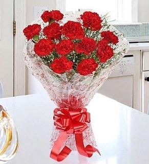 12 adet kırmızı karanfil buketi  Adana İnternetten çiçek siparişi