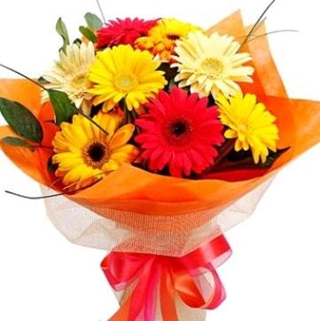 9 adet karışık gerbera buketi  Adana çiçek , çiçekçi , çiçekçilik
