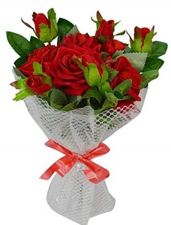 9 adet kırmızı gülden sade şık buket  Adana çiçekçi telefonları