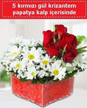 mika kalp içerisinde 5 kırmızı gül papatya  Adana çiçek gönderme