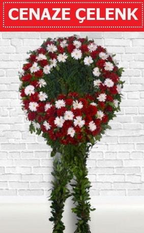 Kırmızı Beyaz Çelenk Cenaze çiçeği  Adana İnternetten çiçek siparişi