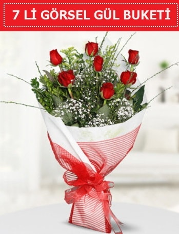 7 adet kırmızı gül buketi Aşk budur  Adana çiçek satışı